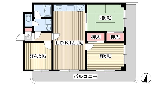 物件番号: 1025881429 パレルミエール岡本  神戸市東灘区田中町3丁目 3LDK マンション 間取り図