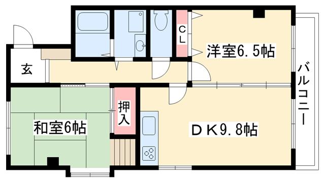 物件番号: 1025881466 オーキッドマヤ  神戸市灘区天城通6丁目 2DK マンション 間取り図