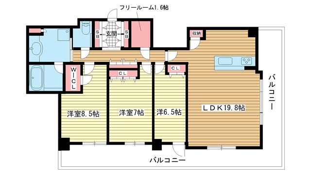 物件番号: 1025881467 ライオンズタワー神戸元町  神戸市中央区栄町通3丁目 2LDK マンション 間取り図