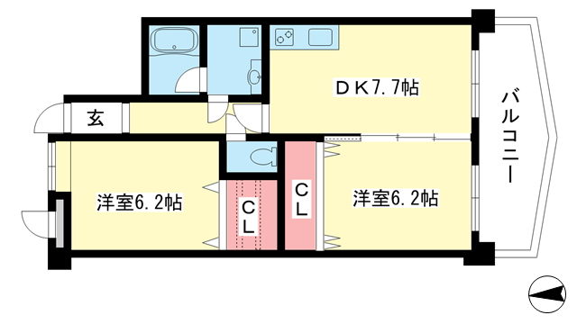 物件番号: 1025881473 エスペラール御影  神戸市東灘区御影郡家2丁目 2LDK マンション 間取り図