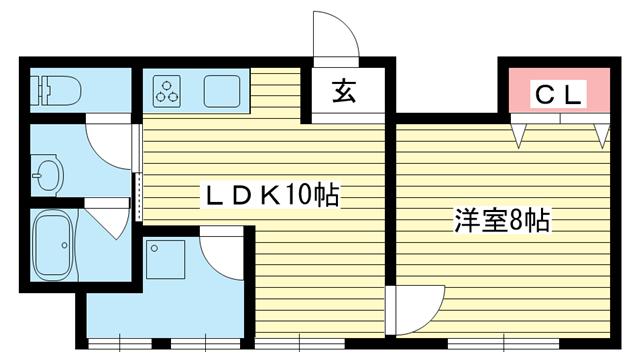 物件番号: 1025881479 ル・シェール新神戸  神戸市中央区国香通6丁目 2DK マンション 間取り図