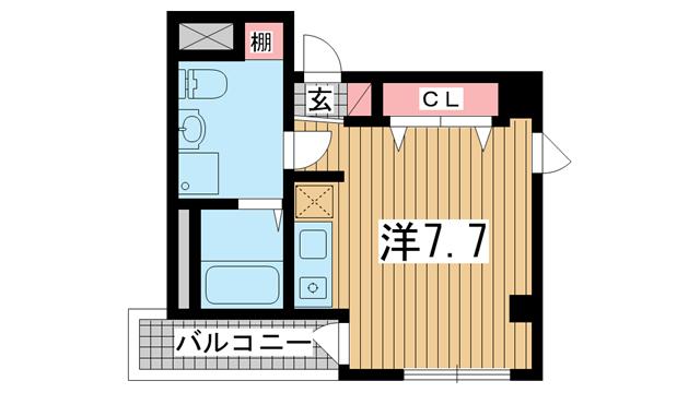 物件番号: 1025881551 ビリオン日暮  神戸市中央区日暮通4丁目 1K マンション 間取り図
