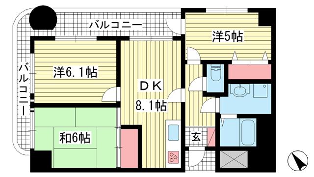 物件番号: 1025881564 サンワステーションプラザ兵庫  神戸市兵庫区西柳原町 3DK マンション 間取り図
