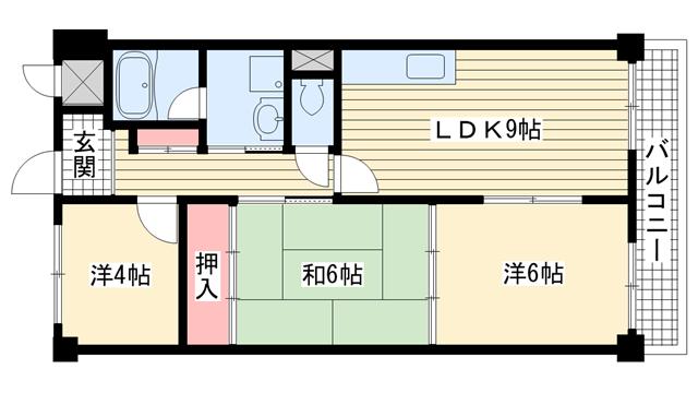 物件番号: 1025881574 伊吹ハイツ  神戸市兵庫区小河通3丁目 3LDK マンション 間取り図