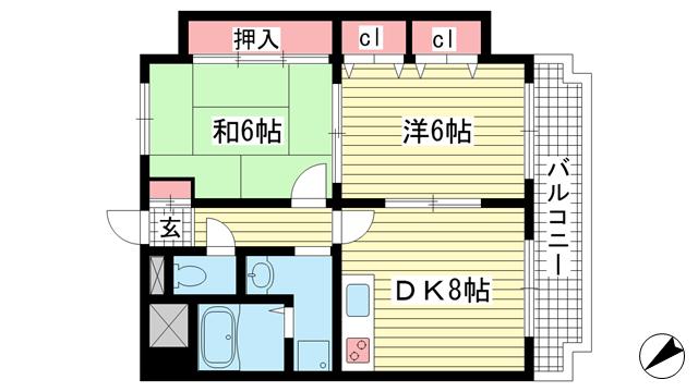 物件番号: 1025881602 ル・パレ神戸西館  神戸市兵庫区新開地4丁目 2LDK マンション 間取り図