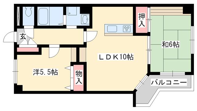 物件番号: 1025881673 ロイヤルメゾン東須磨  神戸市須磨区鷹取町3丁目 2LDK マンション 間取り図
