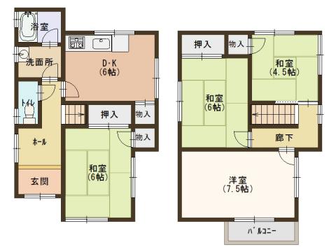 物件番号: 1025881684 北五葉6丁目戸建て  神戸市北区北五葉6丁目 4DK 貸家 間取り図