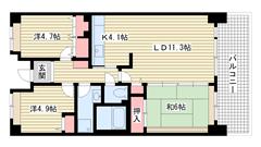 ☆HAT神戸・脇の浜3番館(UR) 205の間取