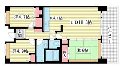 ☆HAT神戸・脇の浜3番館(UR) 302の間取