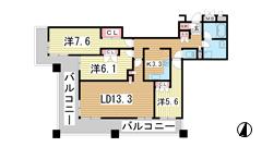トア山手 ザ・神戸タワー 1204の間取