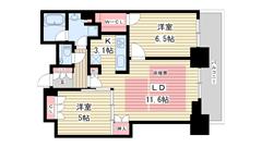 シティタワー神戸三宮 4212の間取