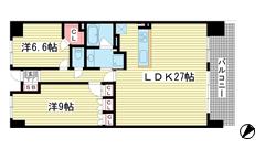 ワコーレシティ神戸三宮 1602の間取