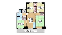 名谷7団地34号棟 805の間取