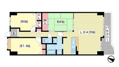 ドルミハイツ垂水ⅢC棟ディオフェルティ学園都市 619の間取