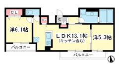 (仮称)垂水区霞ケ丘D-room 102の間取