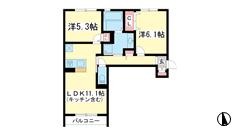 (仮称)垂水区霞ケ丘D-room 203の間取