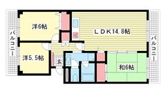 神戸ポートビレジ3号棟 205の間取