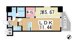プレジオ神戸WEST 606の間取