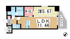 プレジオ神戸WEST 1406の間取