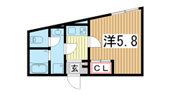 モダンアパートメント神戸湊川 101の間取