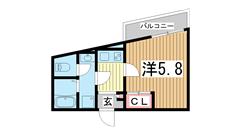 モダンアパートメント神戸湊川 201の間取