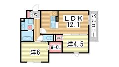 灘北通8丁目D-room 101の間取