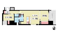 リーガル神戸三宮フラワーロード 1401の間取
