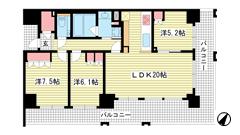 ワコーレ神戸三宮トラッドタワー 16Fの間取
