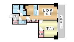 ジ・アーバネックスタワー神戸元町通 2102の間取
