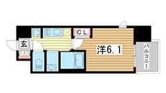 エステムコート三宮EASTⅣザ・フロント 907の間取
