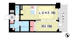 プレサンス THE 神戸 1509の間取
