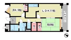 ルミエール六甲 206の間取
